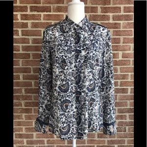 Tory Burch Cotton Button Down Shirt Blue White 10
